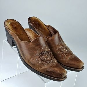 Ariat Womens Leather Cowboy Western Mules Slides